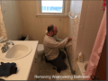 removing wallcovering of a bathroom